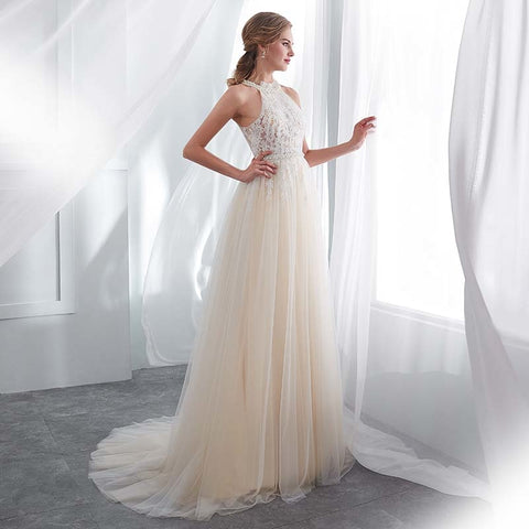 Hater Neck Beach Bridal Dress Vestido De Noiva Light Perals Sleeveless Simple Tulle Wedding Dress