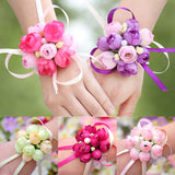 New wedding accessories 1pc wedding bridesmaid wrist flower sisters hand flower pearl wrist flower for Bridesmaid casamento