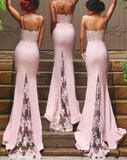 Sexy Bridesmaid Dresses Spaghetti Strap Vestido De Festa De Casamento Sheer Lace Applique Blush Peach Long Bridesmaid Dresses