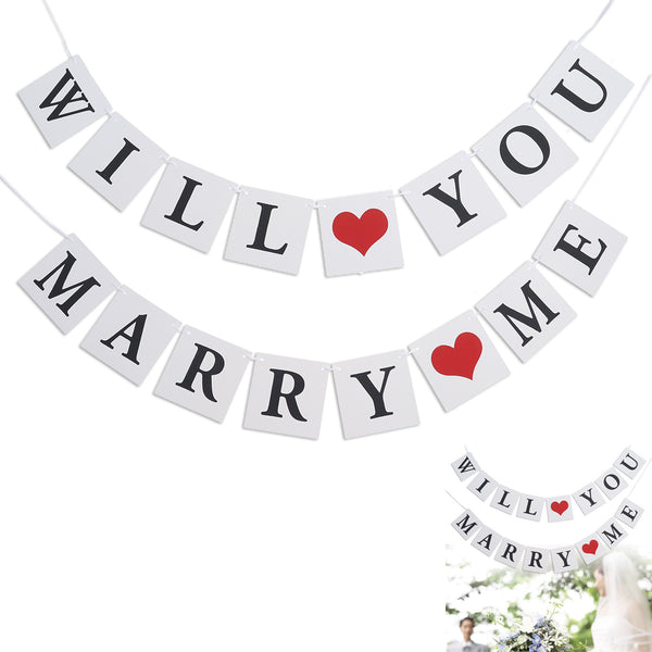 WILL YOU MARRY ME Bunting Banner Decorative Paper Banner Hanging Garland for Wedding Proposal