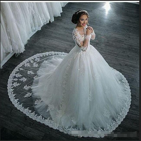 Lace Long Sleeves Ball Gown Wedding Dresses