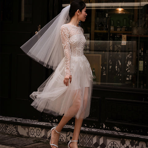 A-Line Long Sleeve and Knee Length Beach Wedding Dresses with Lace