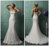 New Elegant Srapless Backless Lace Tulle Mermaid Wedding Dress