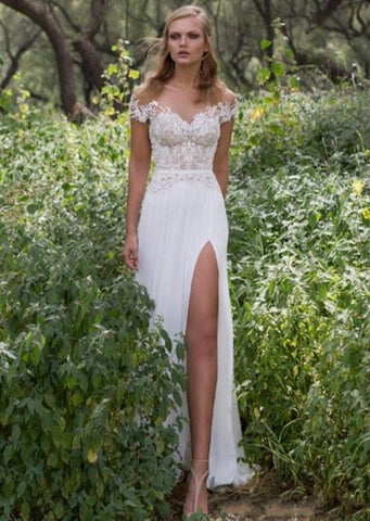 Simple Backless Embroidery Chiffon Beach Wedding Dress