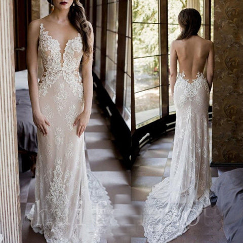 Champagne Wedding Dresses Backless Bride