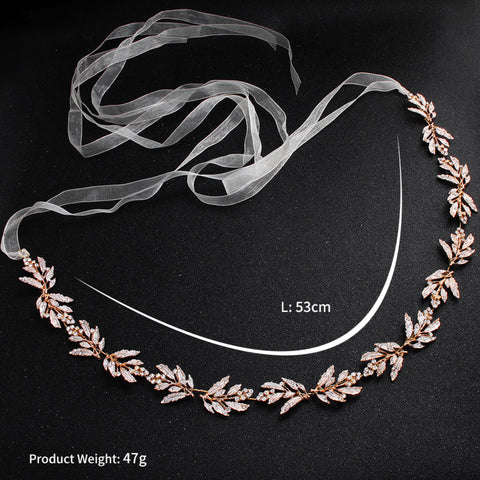 Luxury Rose Gold Alloy Leaves Crystal Wedding Belt Ribbon Satin Bridal Waistband Sash for Bride Bridesmaid Party Prom Jewelry