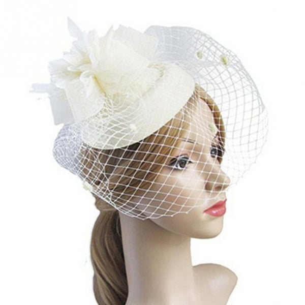 Female Fascinating Elegant Hair Clip Hat Bowler Feather Flower Veil Wedding Party Hat Women Hair Accessories for Photo Shoot