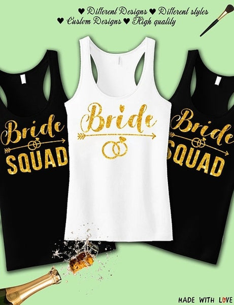 Personalized GOLD wedding Bride Squad bridesmaid t-shirts Bachelorette tanks tops gifts bridal vests party favors singlets tees