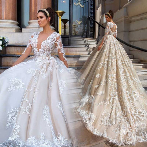Gorgeous Lace Ball Gown Wedding Dresses 2019 Sexy Illusion Appliques Nude  tulle Long Sleeve Bridal dress cacb55f239b4