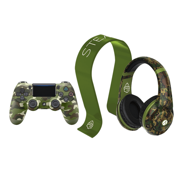 PS4 DS4 Green Cammo + STEALTH Cruiser Gaming Headset & Stand Bundle - KOODOO