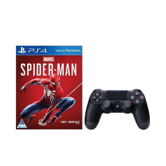 Marvel's Spiderman + PS4 DS4 Black