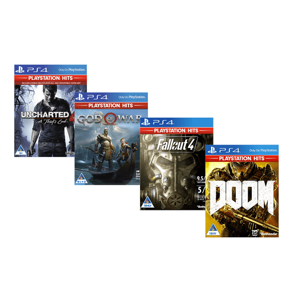 PS Ultimate Box Set - Unchartered 4: A Thiefs End, God Of War, Fallout 4 and DOOM (PS4) - KOODOO