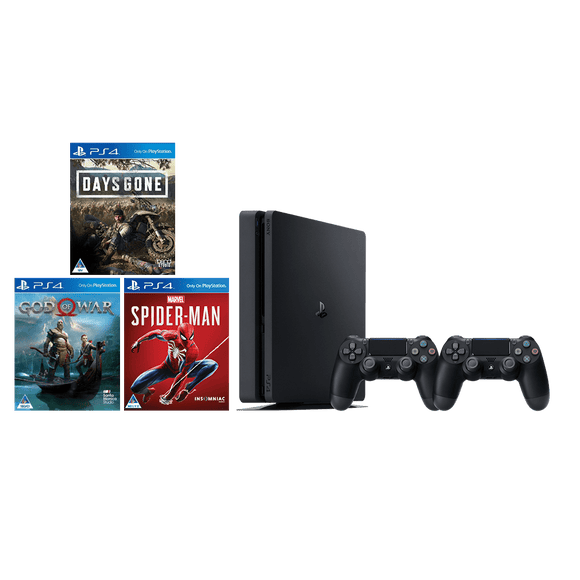 PS4 1TB Slim+Extra DS4+God of War+Marvel Spider-Man+Days Gone - KOODOO