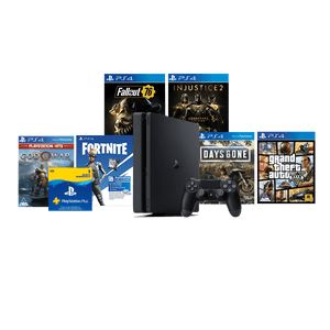 PS4 500GB + 90 Day PSN + GTA + Days Gone + GOW + Fortnite V-Bucks Voucher+ Fallout 76: Wastelanders + Injustice 2 Legendary Edition - KOODOO
