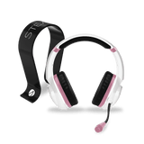 PS4 Rose Gold Edition Stereo Gaming Headset - White + Multiformat Gaming Headset Stand - Black - KOODOO
