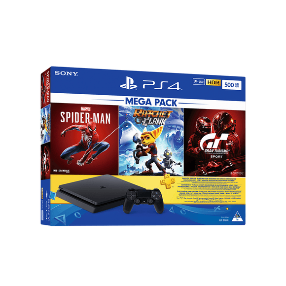 PS4 500GB + 90 Days PSN + Spider-Man + Ratchet & Clank + Gran Turismo Sport Spec II - KOODOO