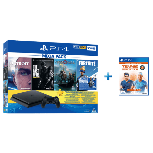 PS4 500GB + 90 Day + Detroit + God Of War + The Last Of Us + Fortnite + Tennis World Tour: Roland-Garros Edition - KOODOO