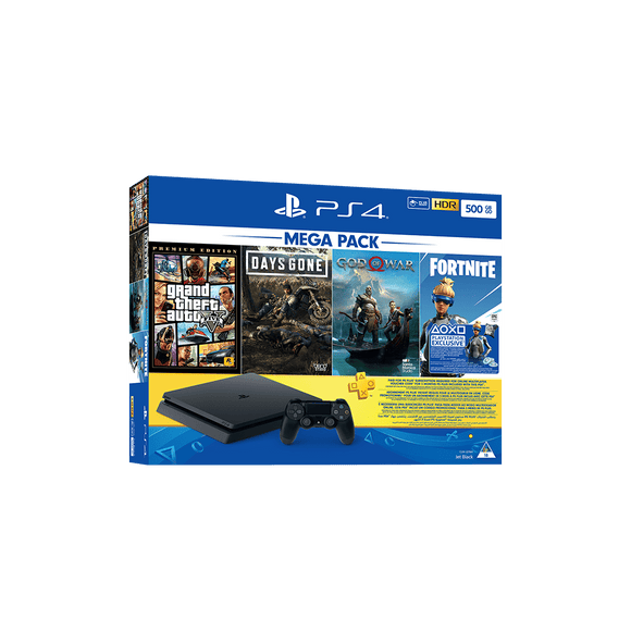 PS4 500GB + 90 Days PSN + Grand Theft Auto + Days Gone + God Of War + Fortnite V-Bucks Voucher - KOODOO