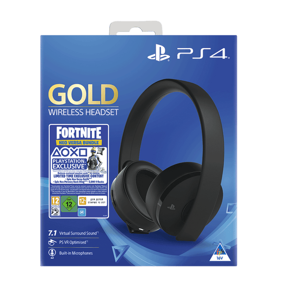PS4 Black Gold Headset + Fortnite Neo Versa Bundle (2K VBUCK) - KOODOO