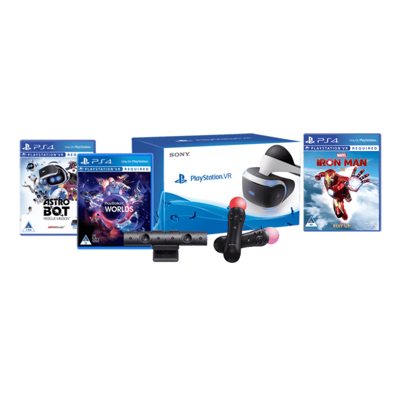 PSVR Console + Camera + Astro Bot + VR Worlds (Voucher) +Marvel's Iron Man + PS Move Twin Pack - KOODOO