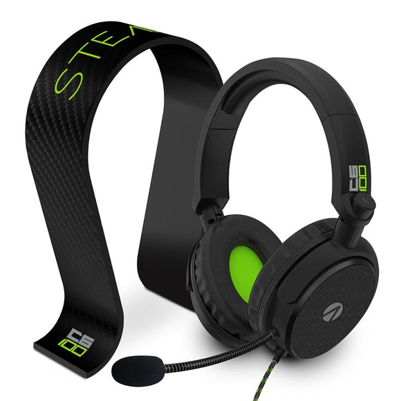 STEALTH C6-100 Headset & Stand Bundle – Carbon Edition Black/Green - KOODOO