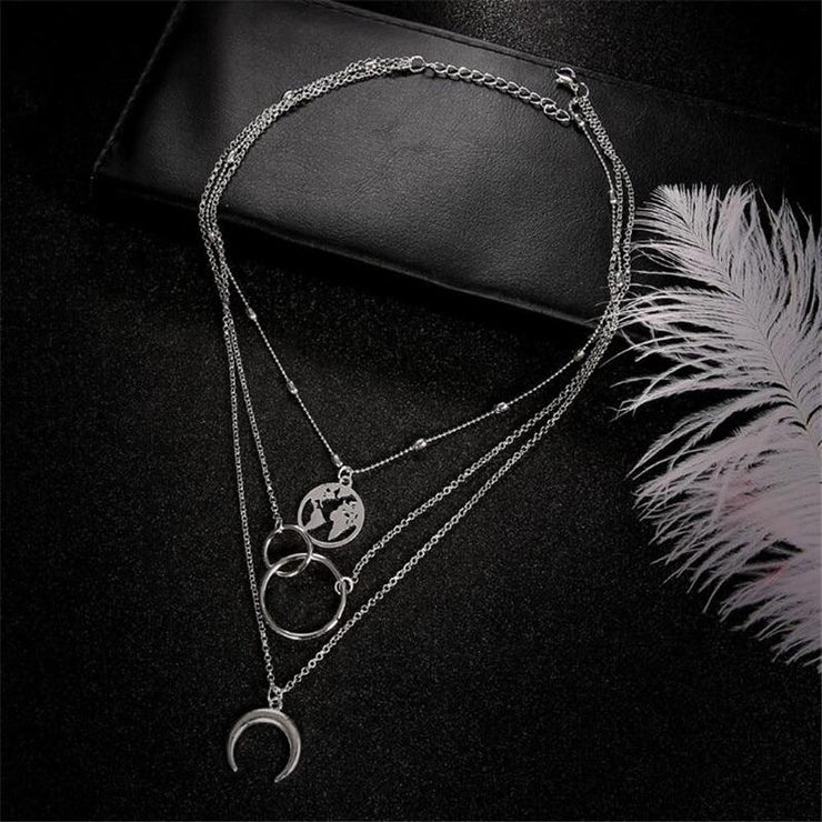Silver Moon Necklace set - Braceletts.eu