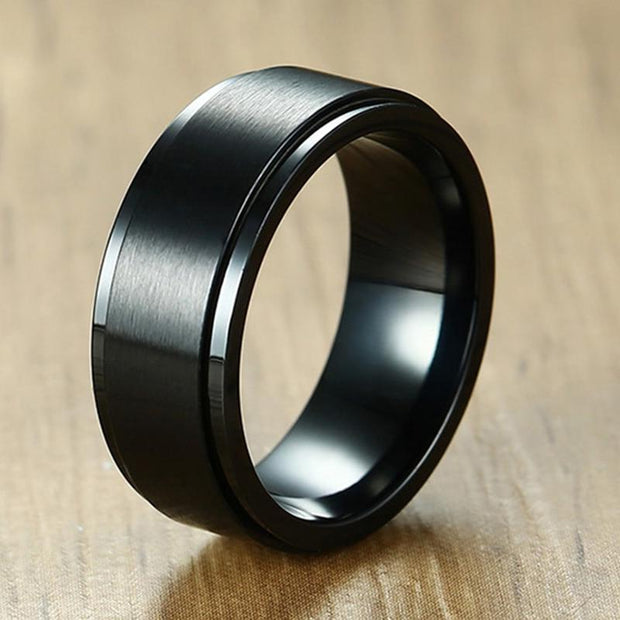 {SS} Black Rotatable Ring - Braceletts.eu