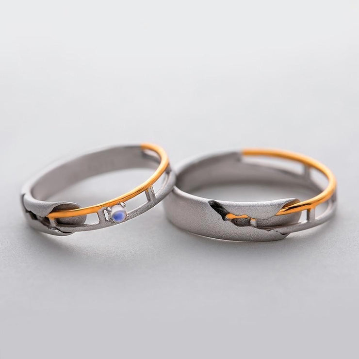 When We Met: The Rings (for couples - natural moonstone) - Insignia Jewels