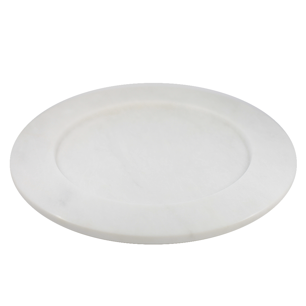 Large Marble Plate in White and Grey