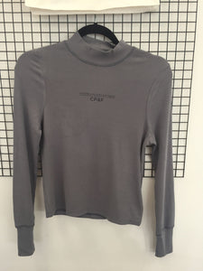 Grey Mock Neck Long-Sleeve Top