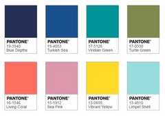 Pantone colour palette under the sea