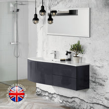 Load image into Gallery viewer, Kiyo 1200 wall mounted graphite gloss vanity unit and basin - Bathroom Trend