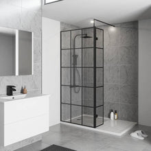 Load image into Gallery viewer, Black Grid Shower Screen Wetroom Critall Inspired 700 - 800 - 900 - 1000 - 1200 - Bathroom Trend