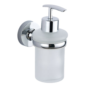 Plan chrome round soap dispenser and holder - Bathroom Trend