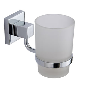 Pure chrome square tumbler and holder - Bathroom Trend