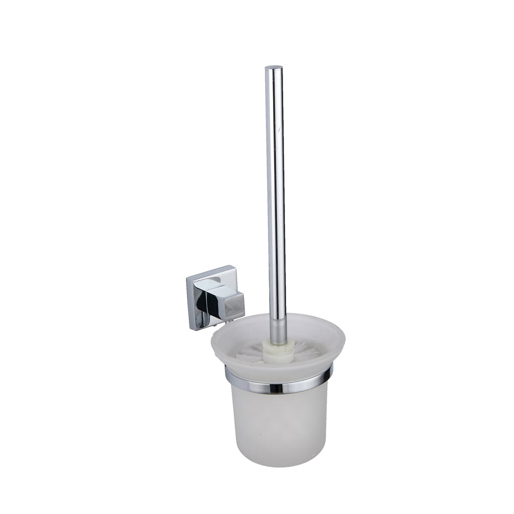 Pure chrome square toilet brush and holder - Bathroom Trend
