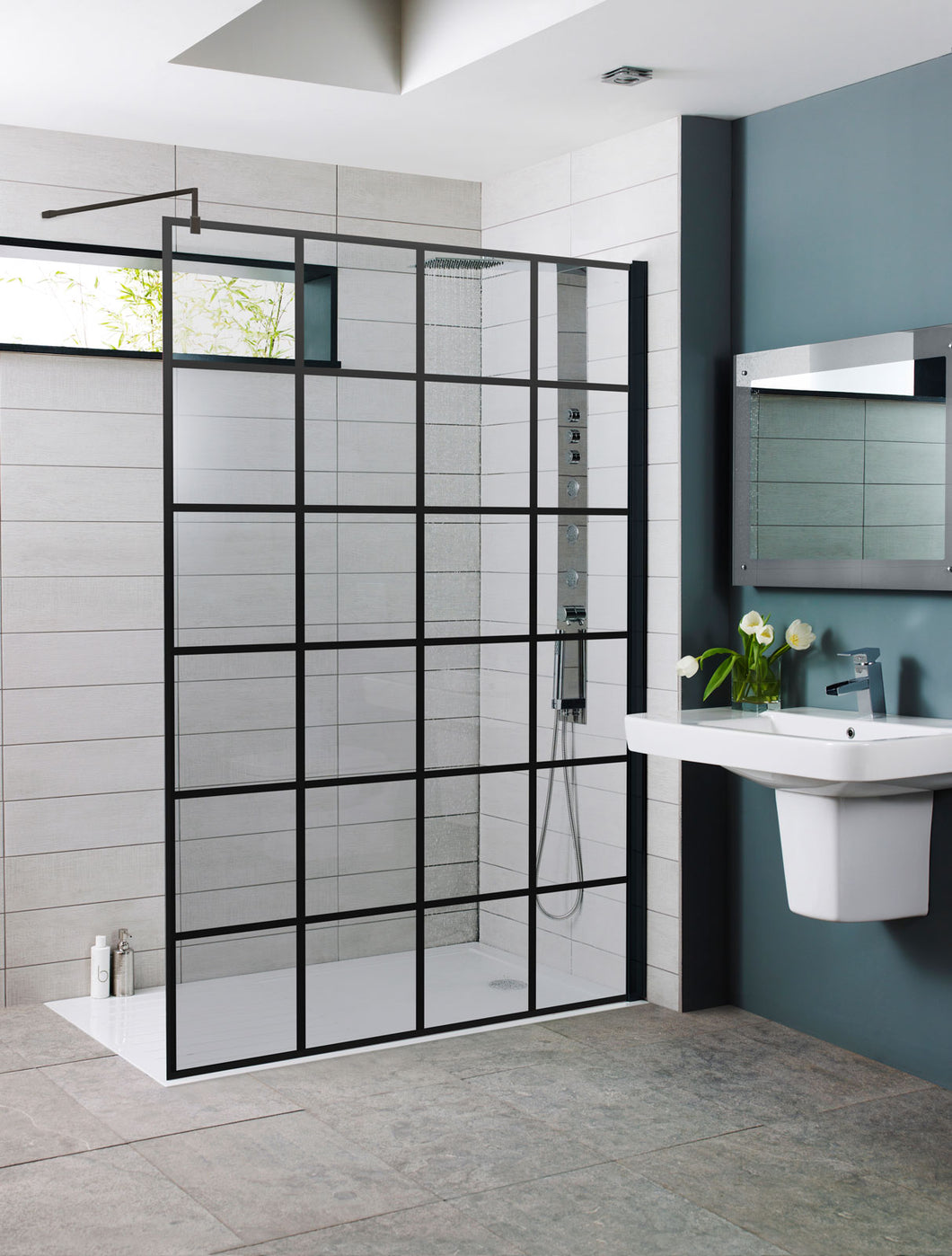 Black Grid Shower Screen Wetroom Critall Inspired 700 - 800 - 900 - 1000 - 1200 - Bathroom Trend