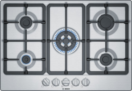 BOSCH | Stainless Steel 5 Gas Cooker Hob Inc Wok Burner - Bathroom Trend