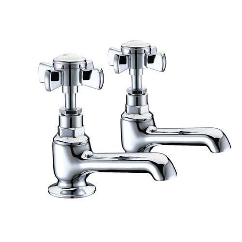 Wisley | Traditional chrome finish Edwardian basin taps (Full turn operation)