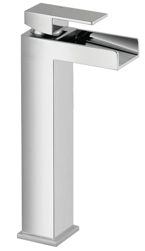 Warley | Modern chrome finish tall square waterfall tap (Waste included)