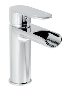 Ganton | Modern chrome finish round waterfall mono basin mixer (waste required)