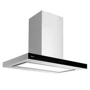 CAPLE | 900mm Illuminated Stainless Steel and Glass Island Hood - Bathroom Trend