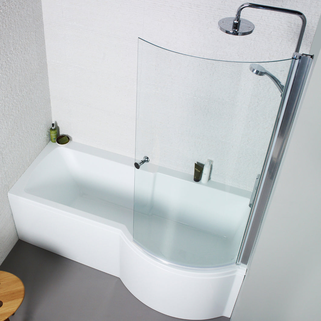 P shaped right handed shower bath with shower screen and front panel - Bathroom Trend