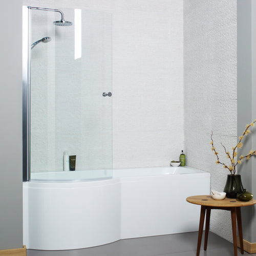 P shaped left handed shower bath with shower screen and front panel - Bathroom Trend
