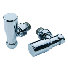 Load image into Gallery viewer, Modern round chrome heated towel rail valves - Bathroom Trend