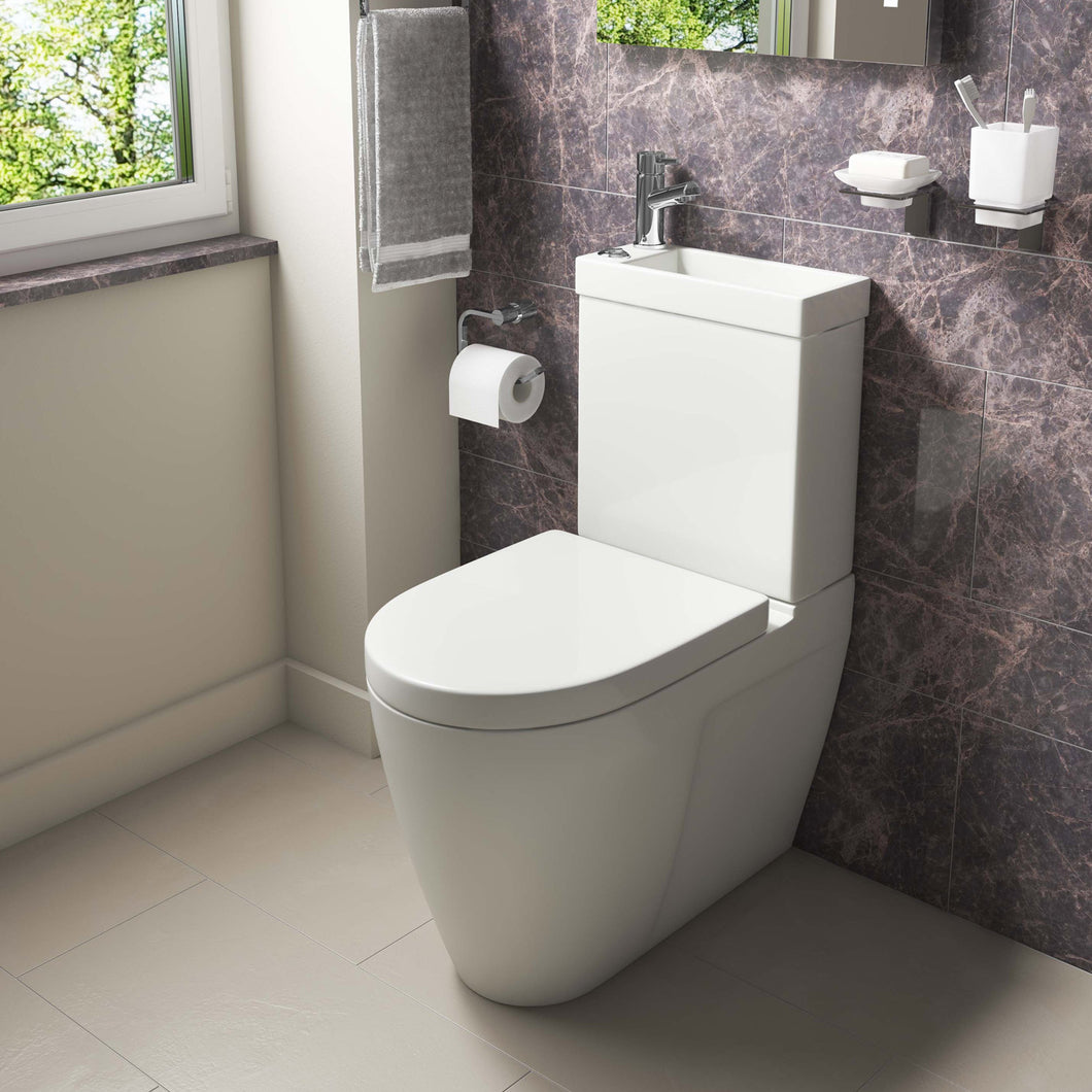 Ultimate compact space saver combi 2 in 1 Mini Cistern, Basin, Toilet and Seat - Bathroom Trend