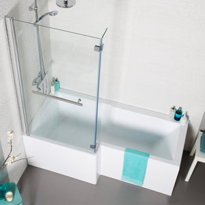 L shaped left handed shower bath with shower screen and front panel - Bathroom Trend