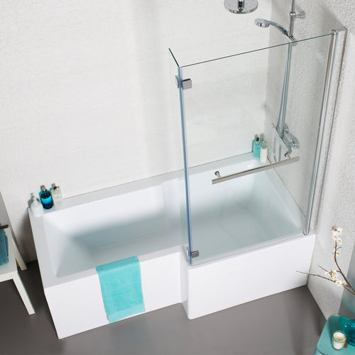 L shaped right handed shower bath with shower screen - Bathroom Trend