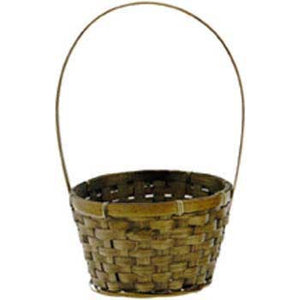 "6.5"" Round Brown Basket with Handle"