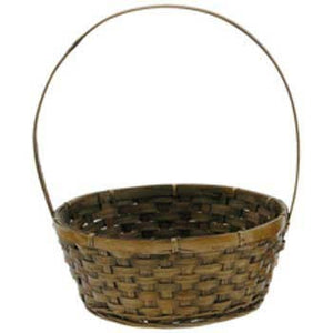 "10.5"" Round Brown Basket with Handle"